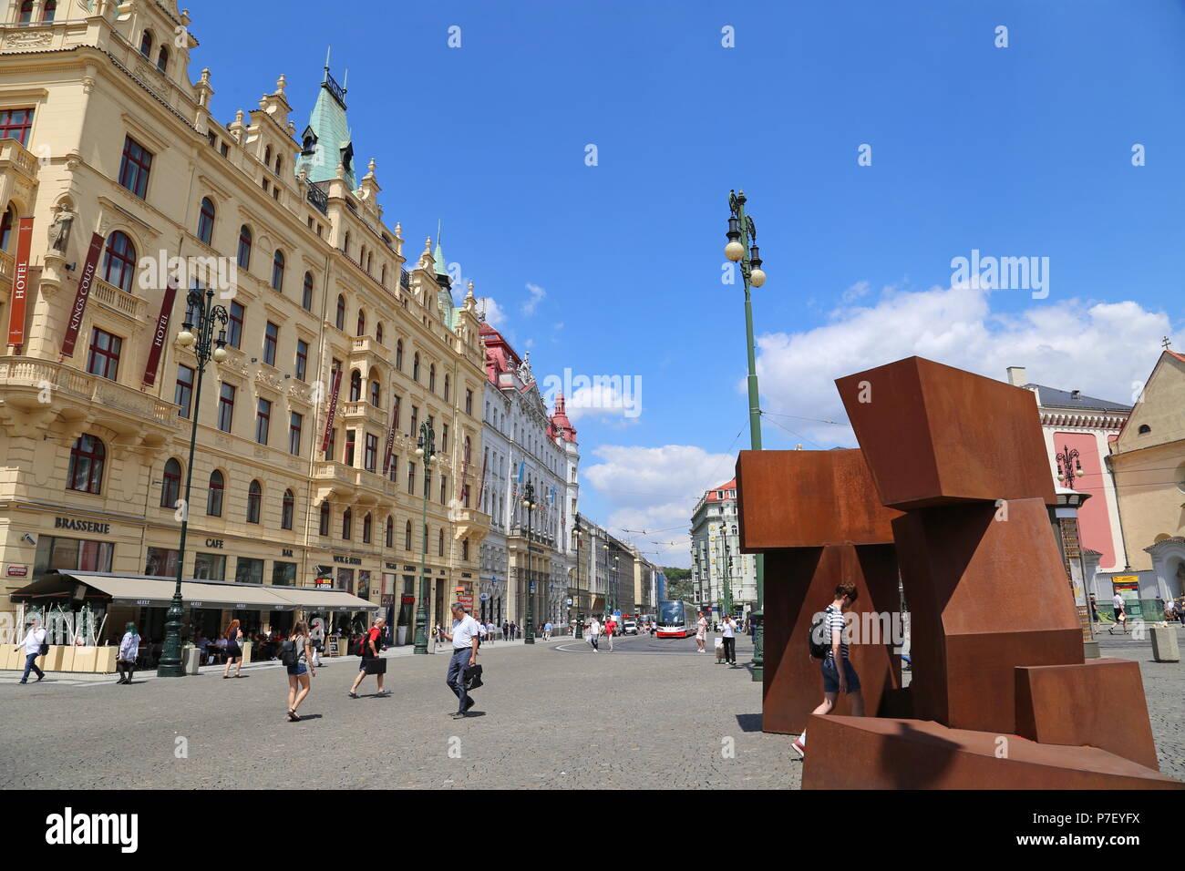 'Valse' by Jörg Plickat (1954), Náměstí Republiky, Staré Město (Old Town), Prague, Czechia (Czech Republic), Europe - Stock Image