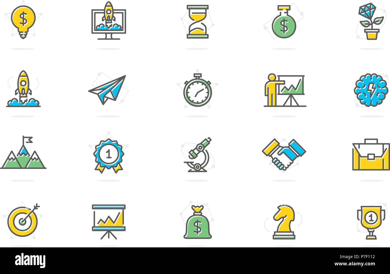 set of vector startup and business colored line icons mountain peak