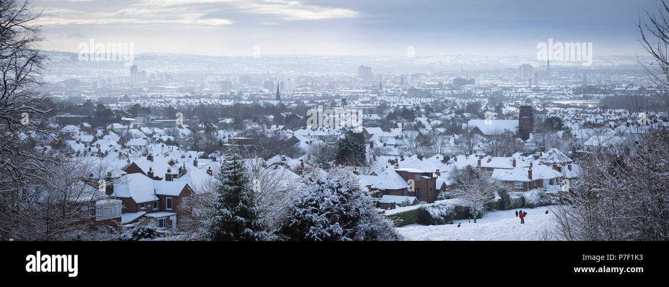 Winter view over Belfast after heavy snow fall, Northern Ireland - Stock Image
