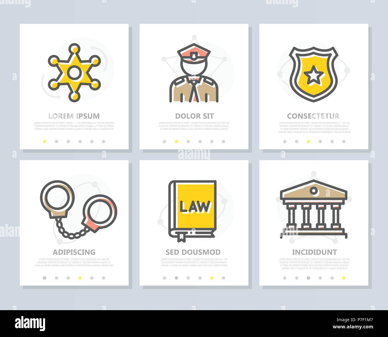 Set of vector crime, law, police and justice colored elements for multipurpose a4 presentation template. Leaflet, corporate report, marketing, advertising, book cover design. - Stock Vector