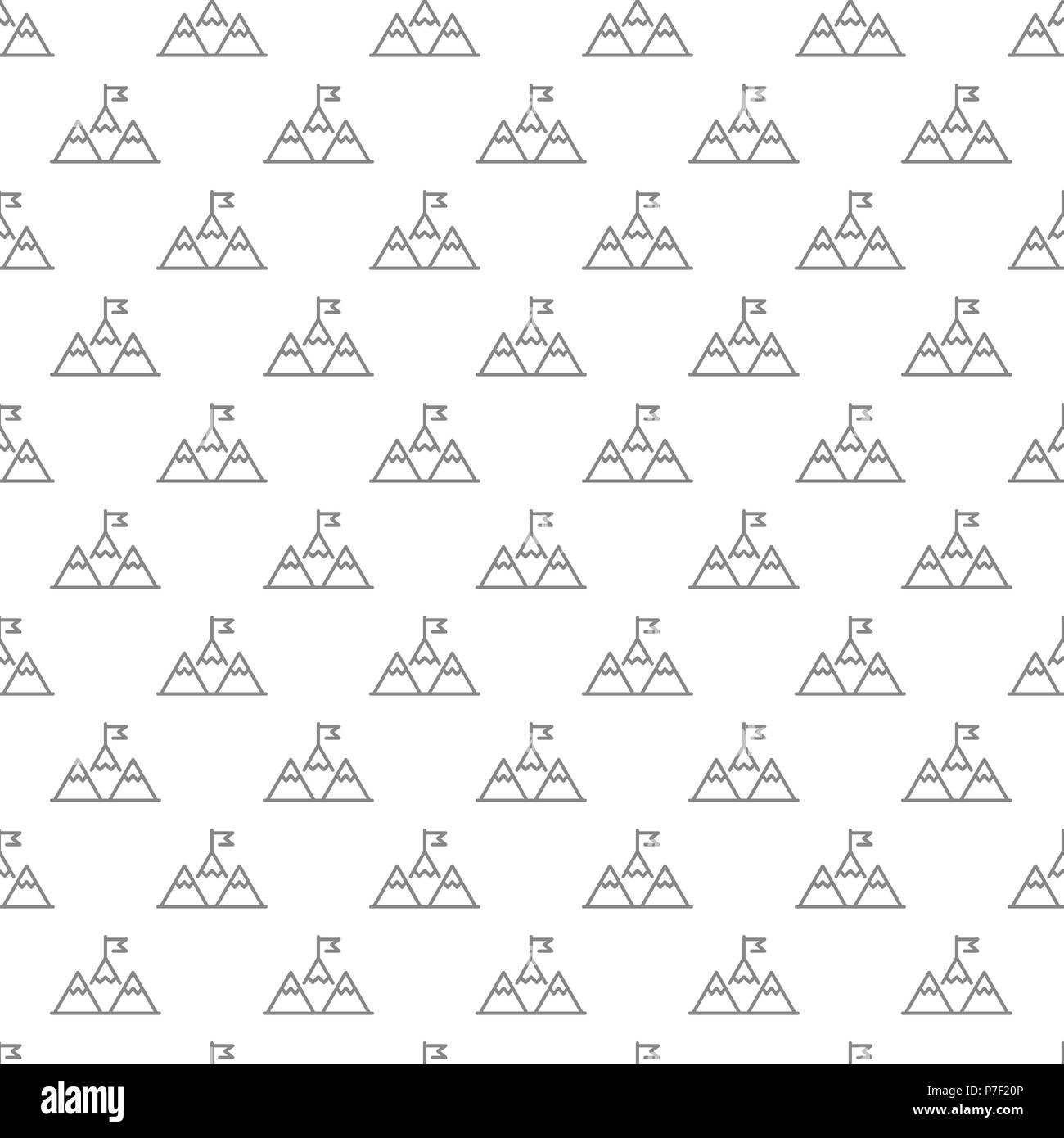 Simple Mountain Peak With Flag Or Leadership Seamless Pattern With