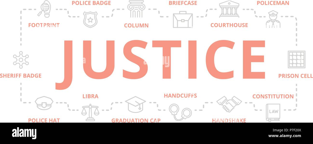 Set of vector crime, law, police and justice thin line banner for design concept. Illustration for presentations on white background - Stock Vector