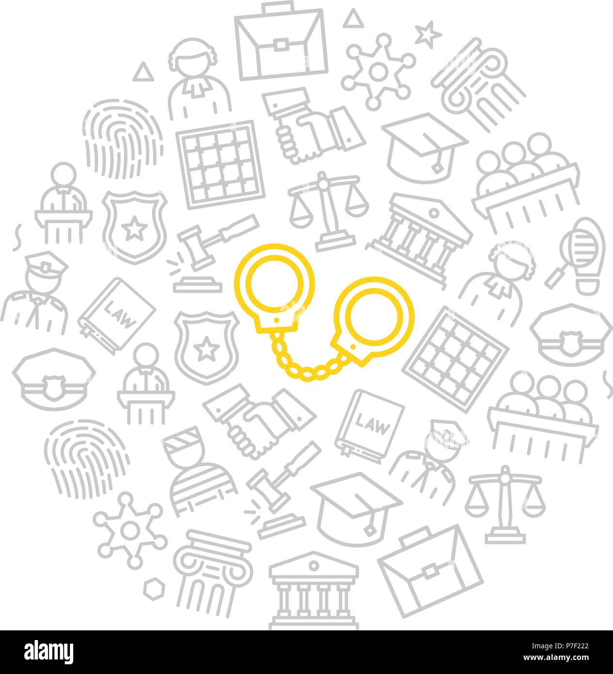 Set of vector crime, law, police and justice icons in circle design concept. Illustration for presentations on white background - Stock Vector