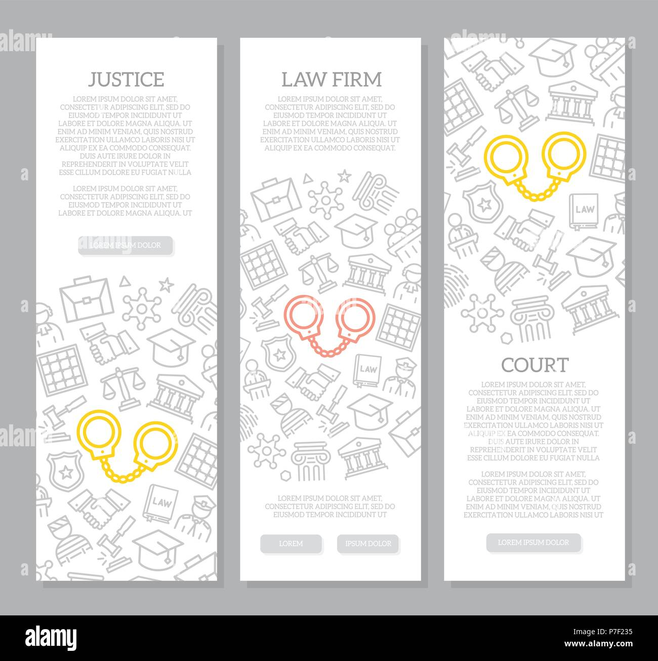 Set of vector crime, law, police and justice vertical banners with icon pattern. Vector illustration - Stock Vector