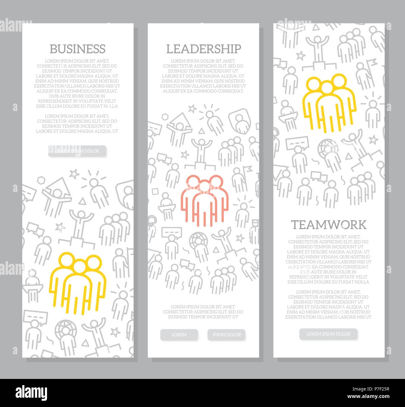 Set of vector human resources and business organization management vertical banners with icon pattern. Vector illustration - Stock Vector
