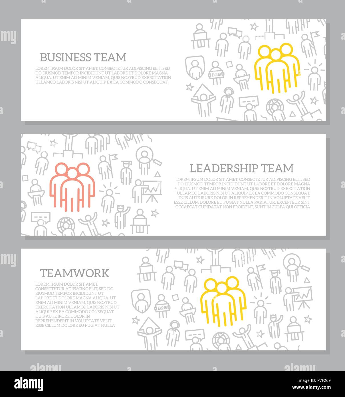 Set of vector human resources and business organization management horizontal banners with icon pattern. Vector illustration - Stock Vector