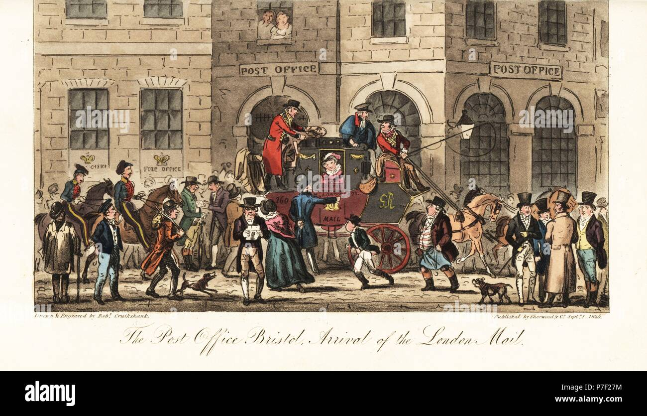 Arrival of the Royal Mail stage coach from London around 10AM at the Post Office, Bristol. Handcoloured copperplate drawn and engraved by Robert Cruikshank from The English Spy, London, 1825. Written by Bernard Blackmantle, a pseudonym for Charles Molloy Westmacott. - Stock Image