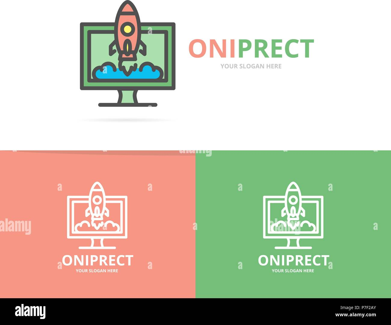 Simple rocket with computer monitor logo design template. Symbol and sign vector illustration Stock Vector
