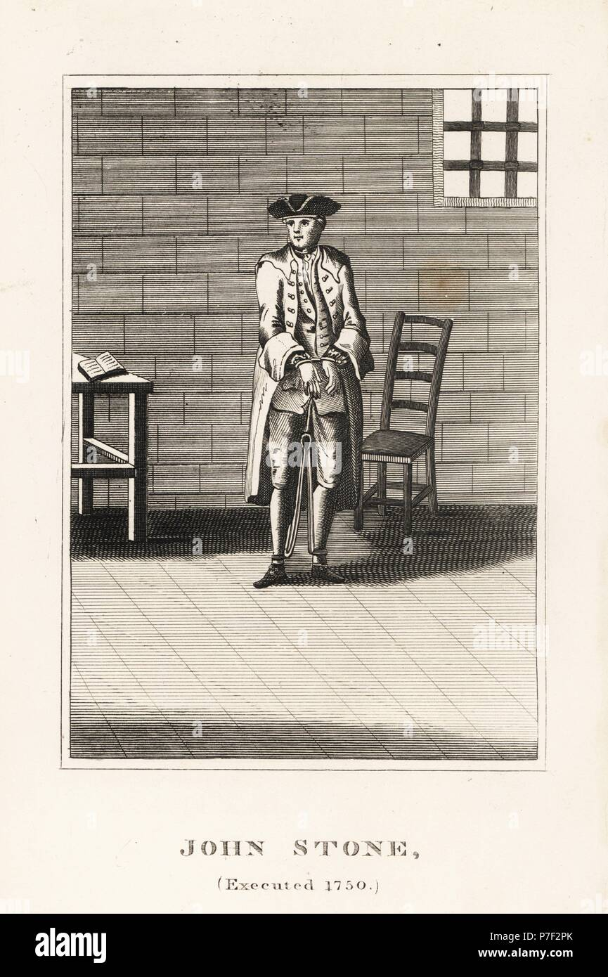 John Stone, executed in 1750 for arson committed for his employer John Collington. Copperplate engraving from John Caulfield's Portraits, Memoirs and Characters of Remarkable Persons, Young, London, 1819. - Stock Image