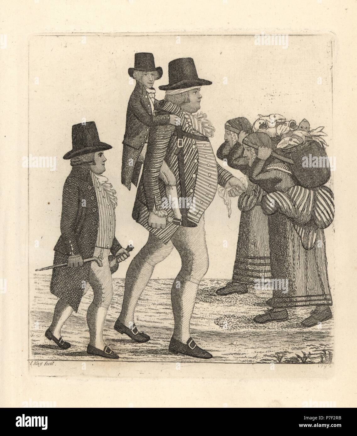 Hamilton Bell carrying a vintner's boy from Edinburgh to Musselbough accompanied by John Rae, as part of a bet. Copperplate engraving by John Kay from A Series of Original Portraits and Caricature Etchings, Hugh Paton, Edinburgh, 1842. - Stock Image