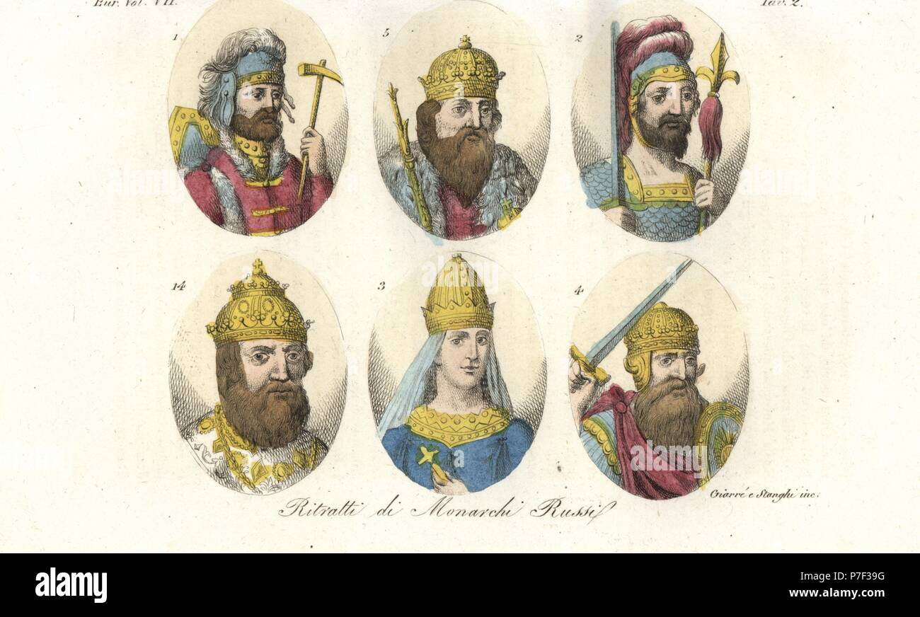 Portraits of early Russian rulers. King Rurik 1, Igor I 2, Saint Olga 3, Sviatoslav I Igorevich 4, Vladimir Sviatoslavich the Great 5, and Ivan IV the Terrible 14. Handcoloured copperplate engraving by Giarre and Stanghi from Giulio Ferrario's Costumes Ancient and Modern of the Peoples of the World, Florence, 1847. - Stock Image