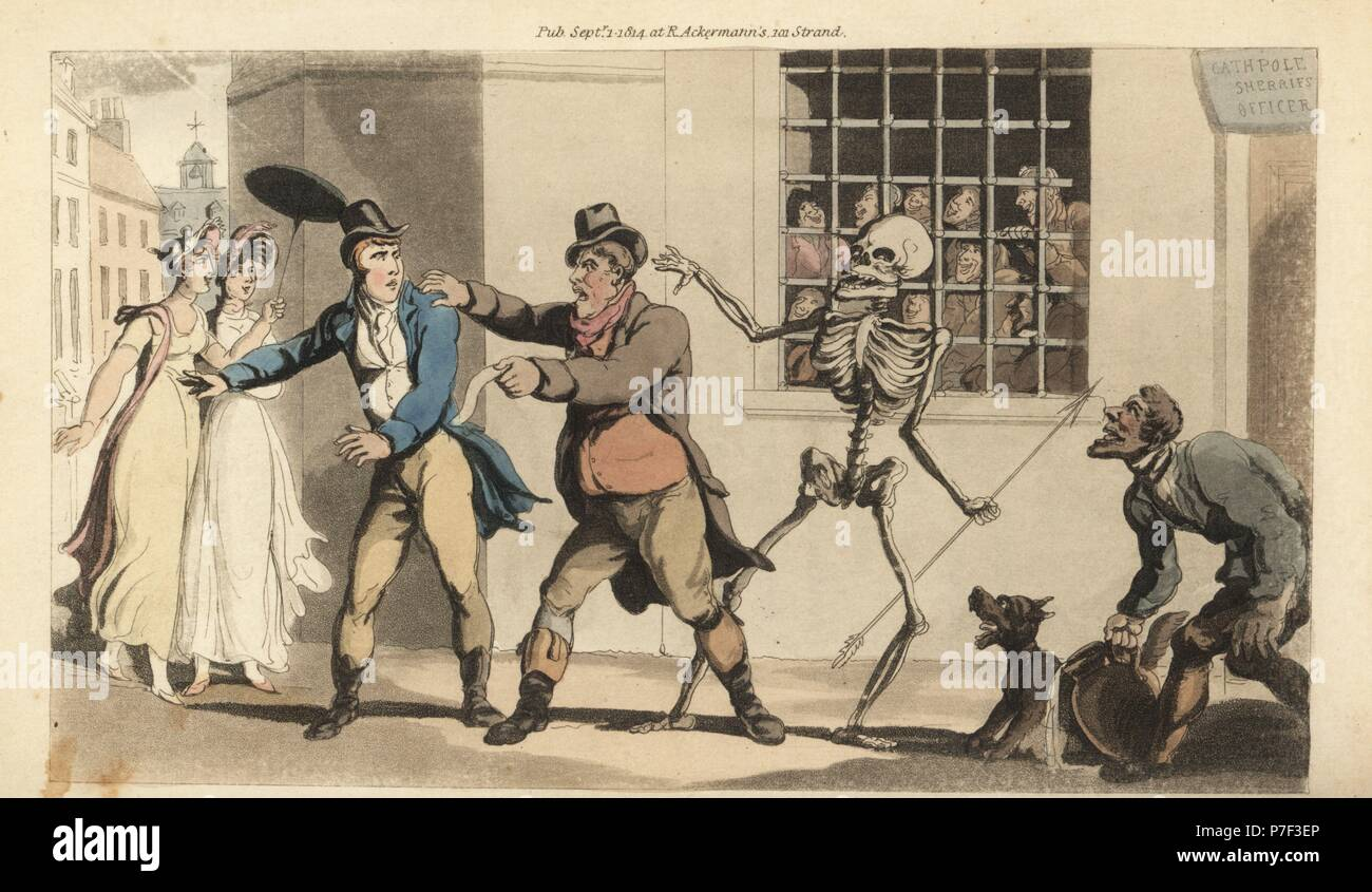 The skeleton of Death with his dart takes a Catchpole as he tries to collect a debt from a gentleman in a street, while many other debtors watch from behind bars in the sherrif's office. Handcoloured copperplate drawn and engraved by Thomas Rowlandson from The English Dance of Death, Ackermann, London, 1816. - Stock Image