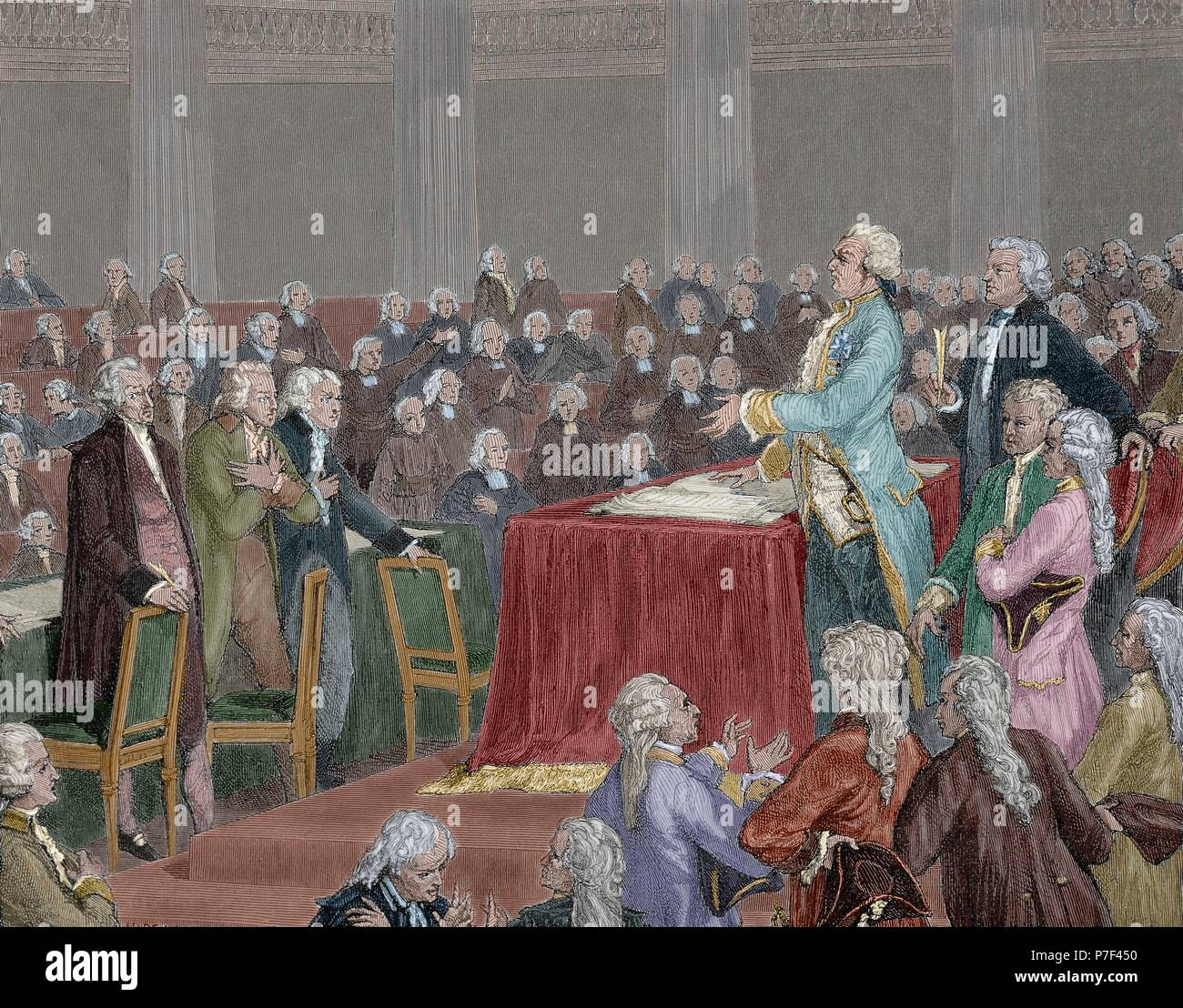 Louis XVI was forced to adopt the Constitution of 1791 by the National  Assembly. Engraving by Meyer Heine, 1900. Colored.