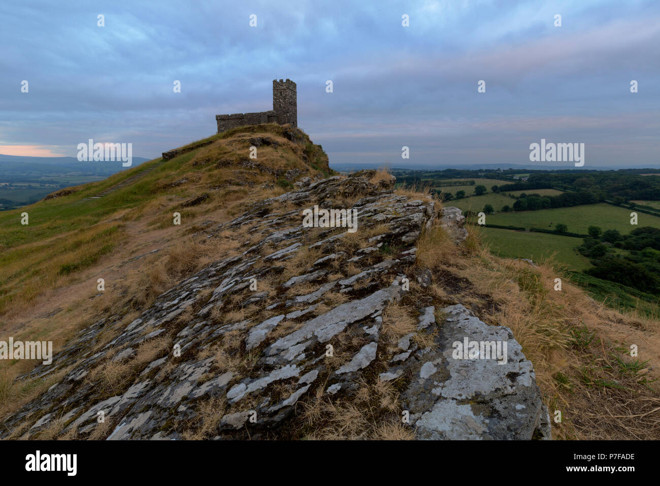 The parish church of St Michael De Rupe at Brentor in West Devon - Stock Image