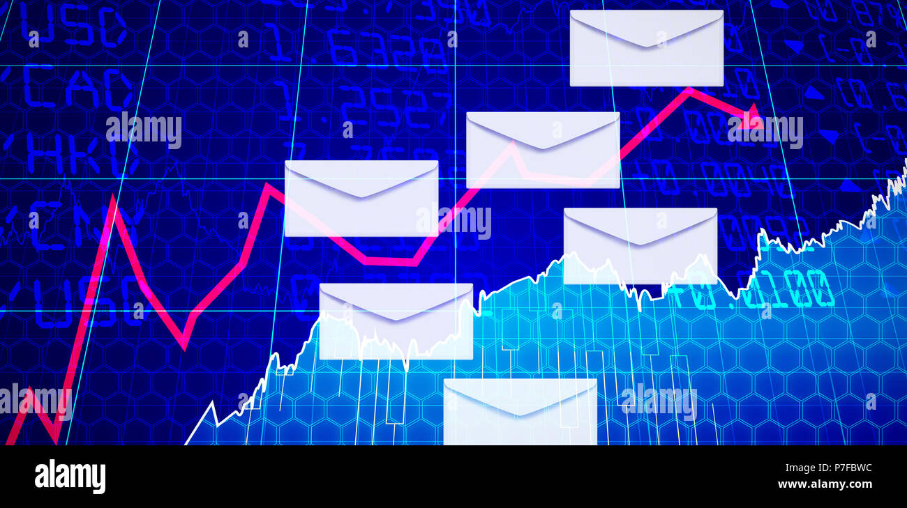 Composite image of vector of envelopes - Stock Image
