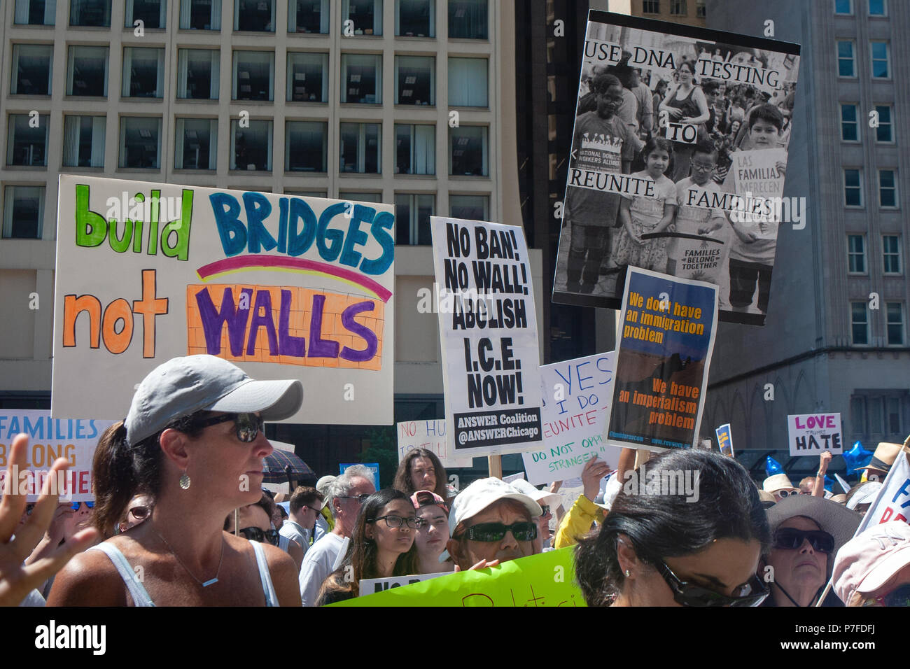 CHICAGO, ILLINOIS USA - JUNE 30, 2018: Demonstrators at the Families Belong Together rally protest the plight of separated migrant children. - Stock Image