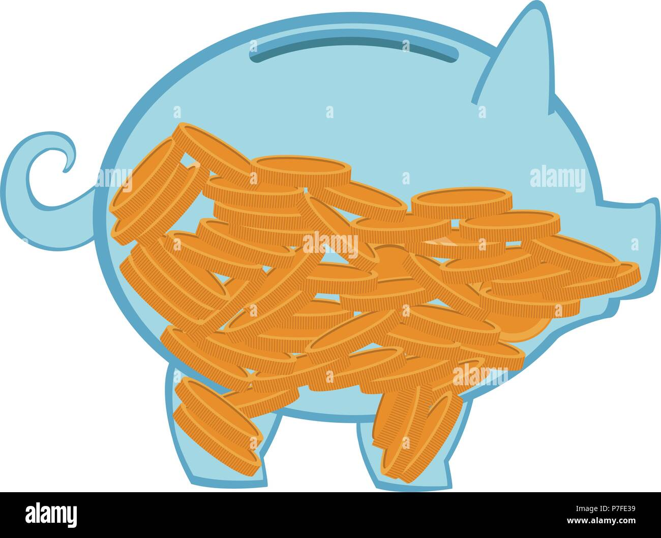 transparent piggy with coins - Stock Image