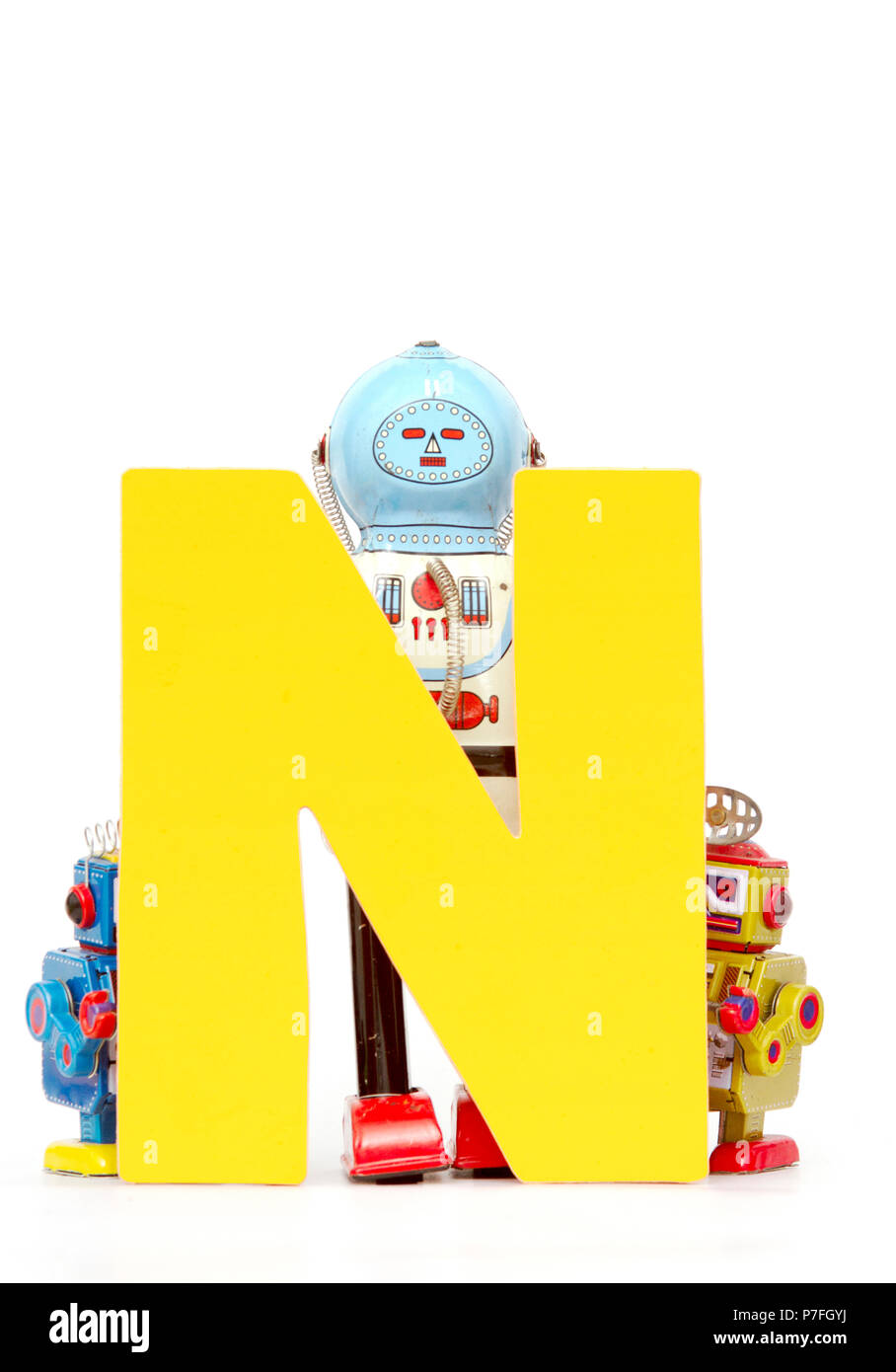 Capital Letter N Held By Vintage Robot Toys Stock Photo 211169606