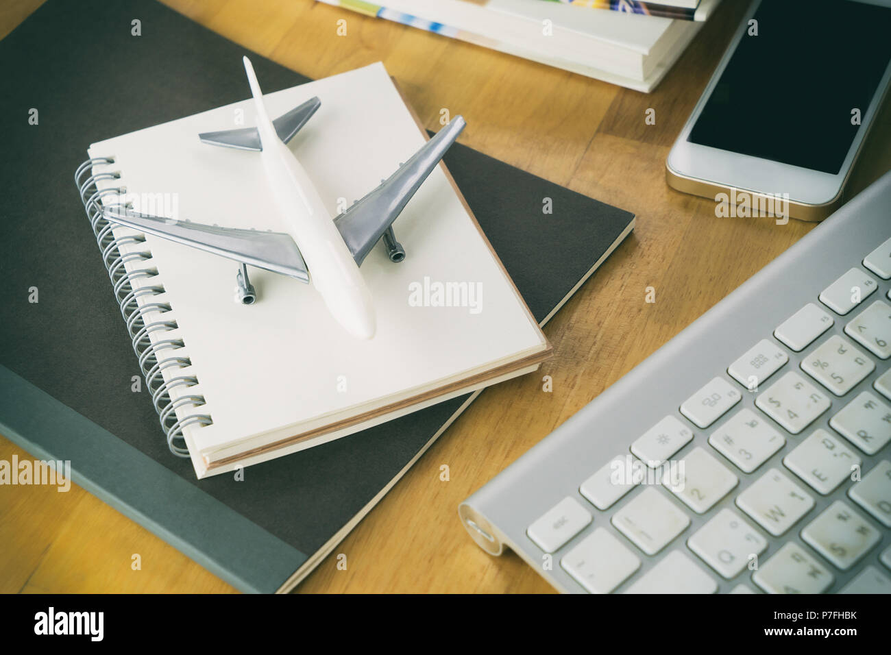 Business travel agency on computer working desk Stock Photo