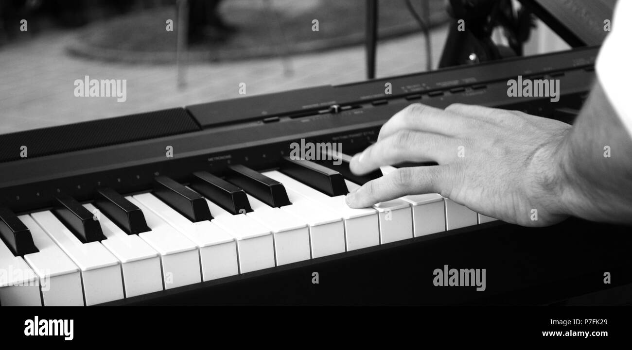 young musician playing synthesizer in an outdoor performance,image of a - Stock Image