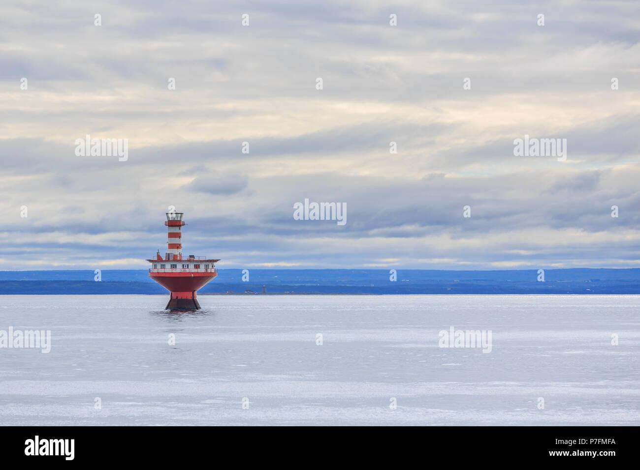 Lighthouse Phare du Haut-Fond Prince in Saint Lawrence River, Tadoussac, Québec Province, Canada - Stock Image