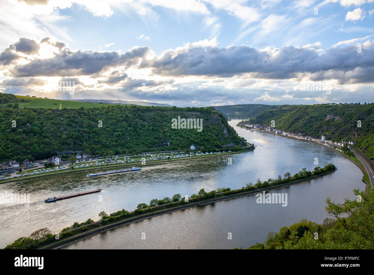 Rhine valley Landscape and Sankt Goarshausen view from the Loreley rock Travel Germany Stock Photo