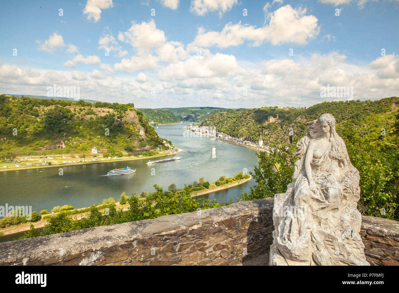 Loreley figure and  Rhine valley Landscape and Sankt Goarshausen view from the Lore Ley rock Germany Intersting Places Stock Photo