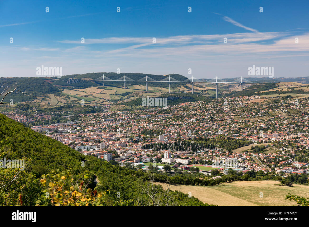 View over the Viduc de Millau and the city of Millau, Ayeron, Occitanie, France - Stock Image