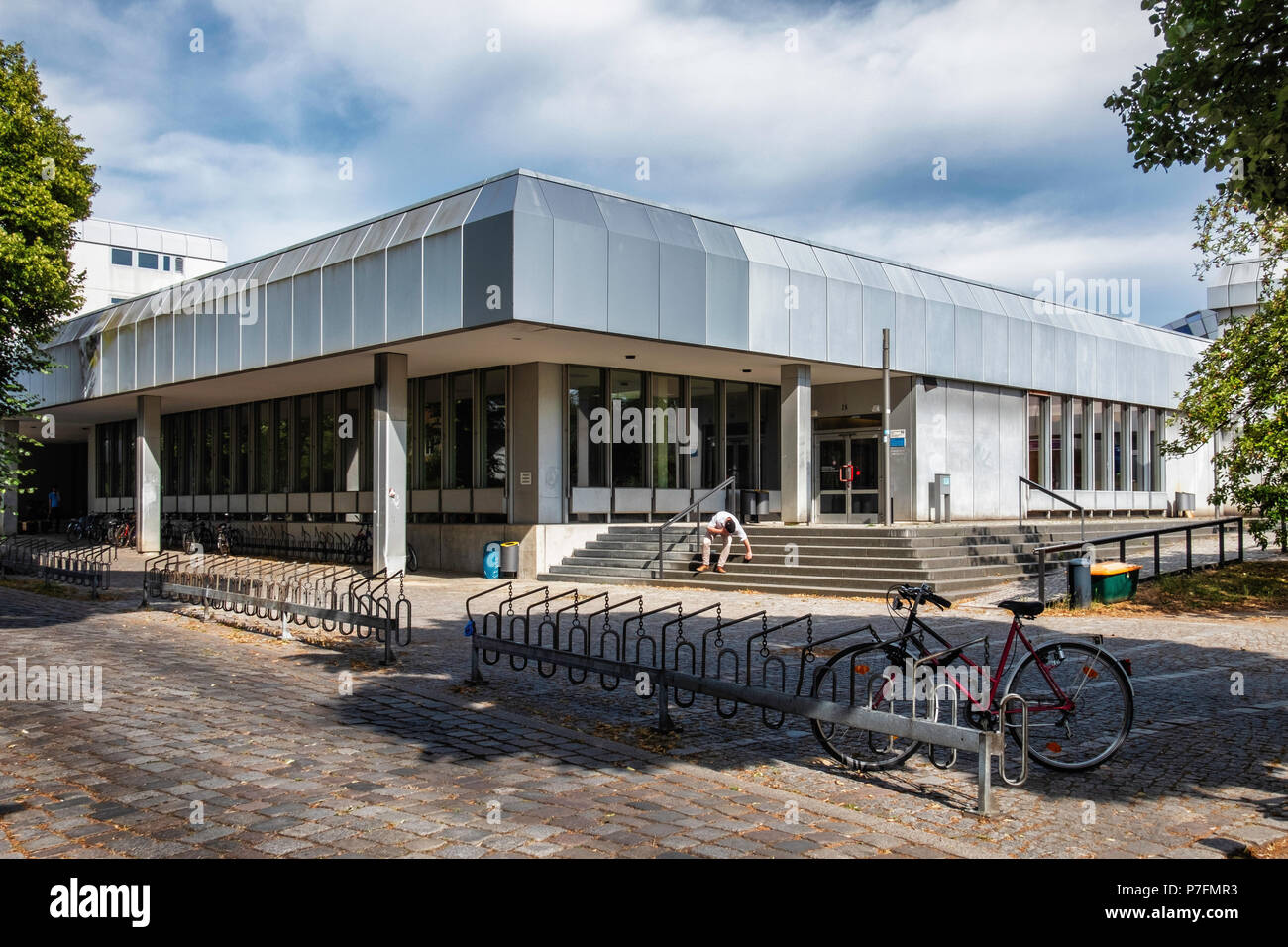 Berlin, FU Freie Universität,Free University campus buildings - Modern complex Rust and silver exterior Stock Photo
