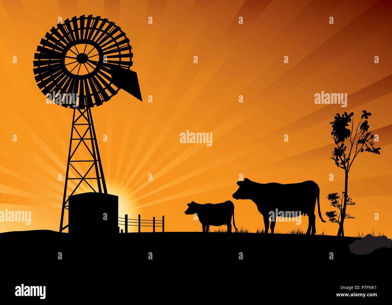 Australian windmill and cows in the outbacks - Stock Vector