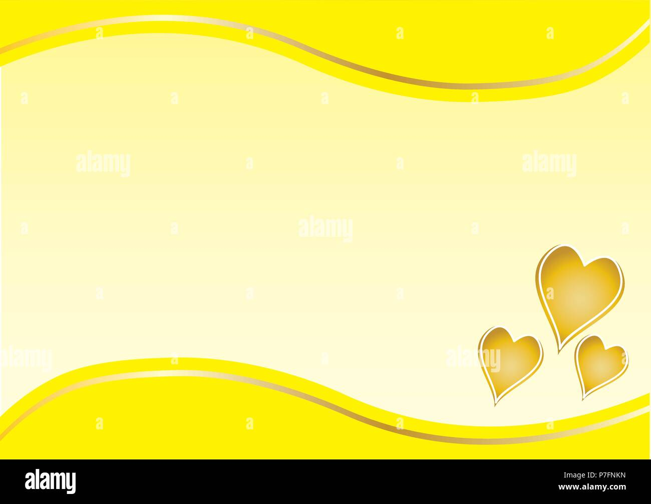 gold hearts with yellow border on the top and bottom with cream background - Stock Vector
