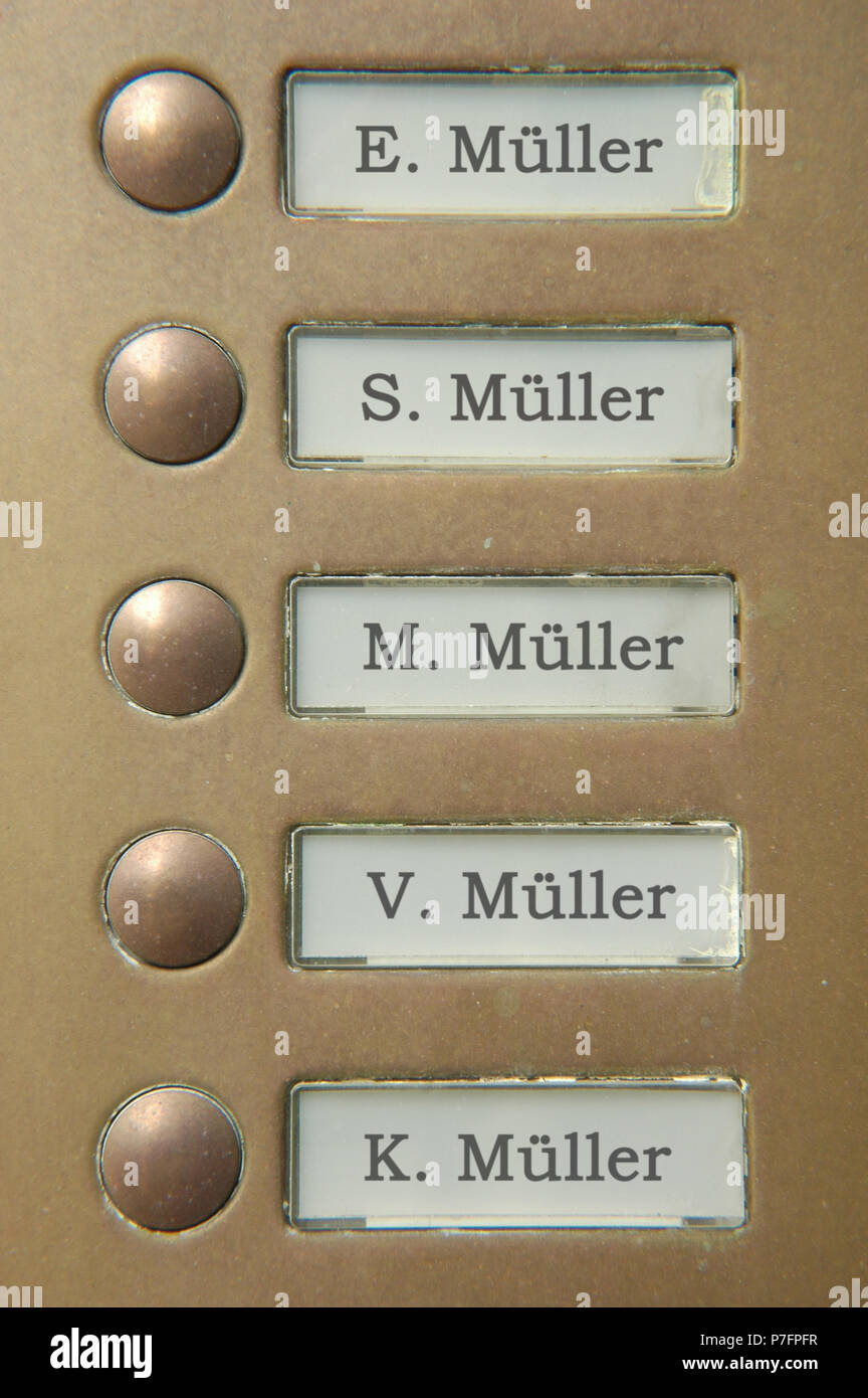 Five door bell nameplates all with the name Müller, Berlin, Germany - Stock Image