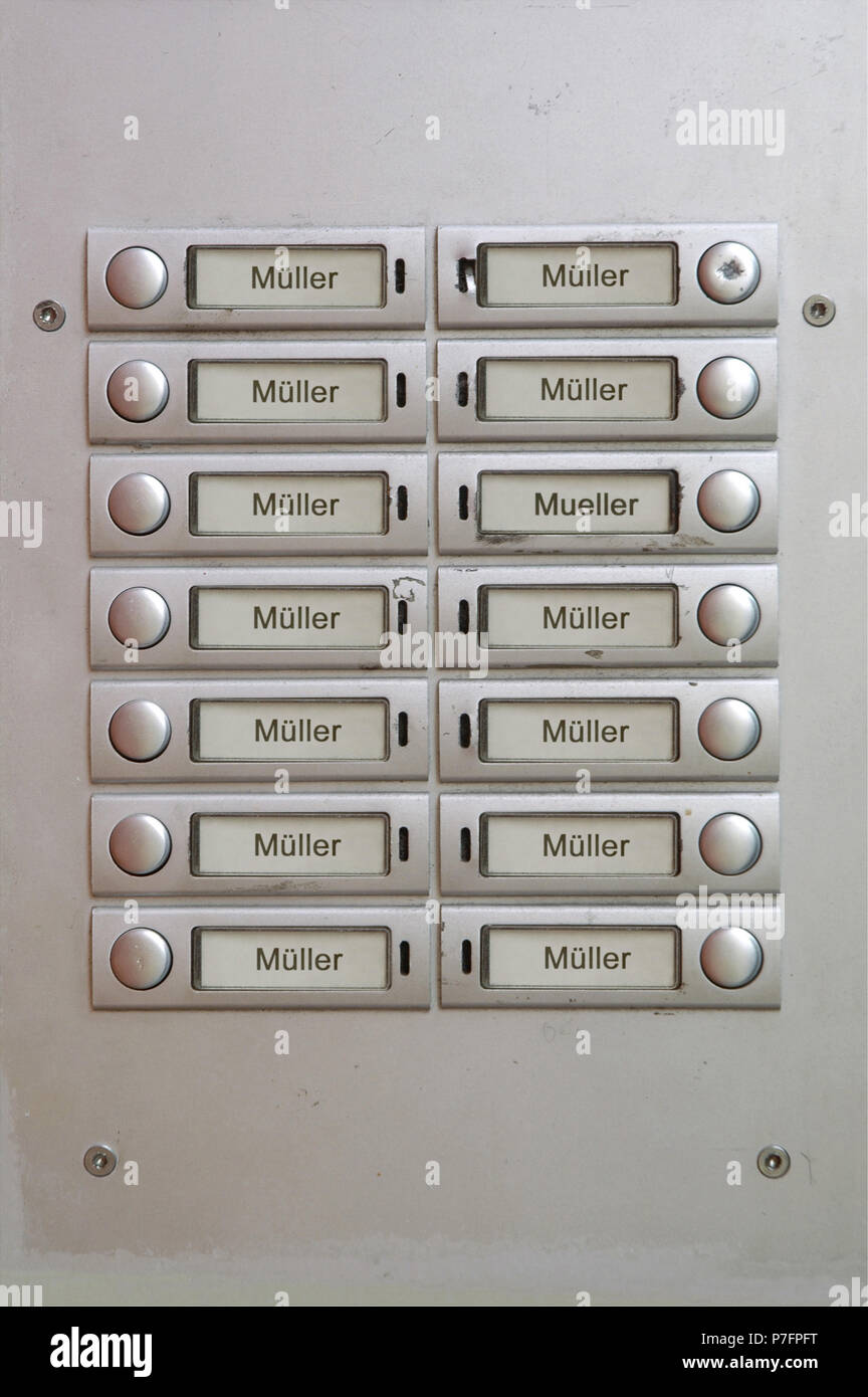 Many door bell nameplates all with the name Müller, Berlin, Germany - Stock Image