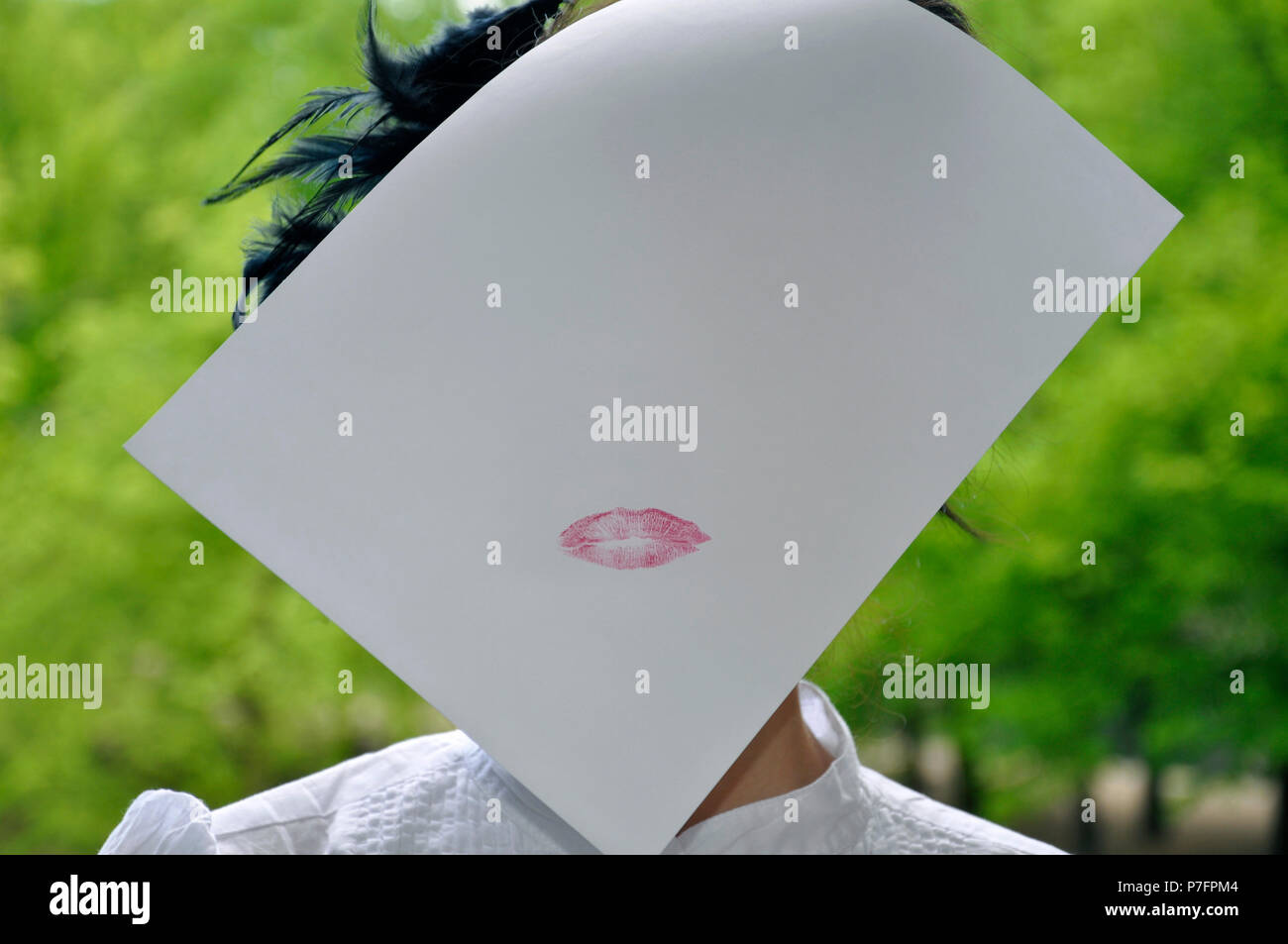 Kiss on a sheet of paper, Germany - Stock Image