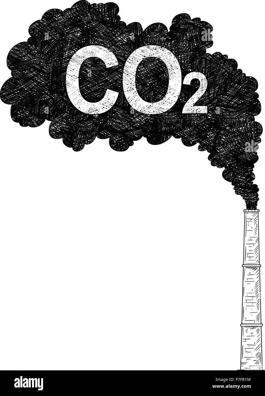 Vector Artistic Drawing Illustration of Smokestack, Industry or Factory Air CO2 Pollution - Stock Image
