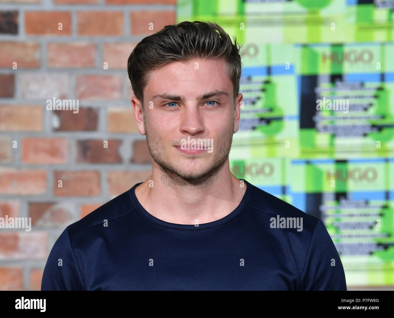 Berlin, Germany. 05th July, 2018. 05.07.2018, Berlin: Jannik Schumann arrives at the presentation of the HUGO Mens and Womens' Collection Spring/Summer 2019 at the Weissensee Motor Works. At the Berlin Fashion Week the collections for spring/summer 2019 will be presented. Photo: Jens Kalaene/dpa central image/dpa | usage worldwide Credit: dpa picture alliance/Alamy Live News Stock Photo