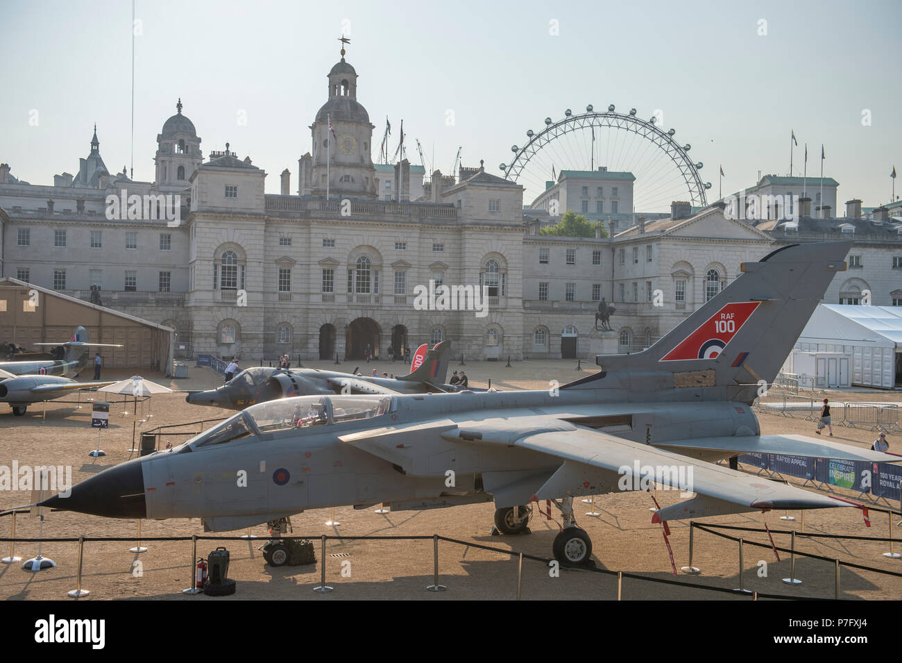Horse Guards Parade, London, UK. 6 July, 2018. RAF100, an exhibition of aircraft covering the RAF's history, from WW1 and WW2 through to the modern age are displayed at Horse Guards Parade in central London, open to the public from 11.00am on 6th till 9th July 2018 with RAF uniformed re-enactors bringing the displays to life. Recently decommissioned Tornado GR1 on display, one of the RAF's longest serving jets. Credit: Malcolm Park/Alamy Live News. - Stock Image