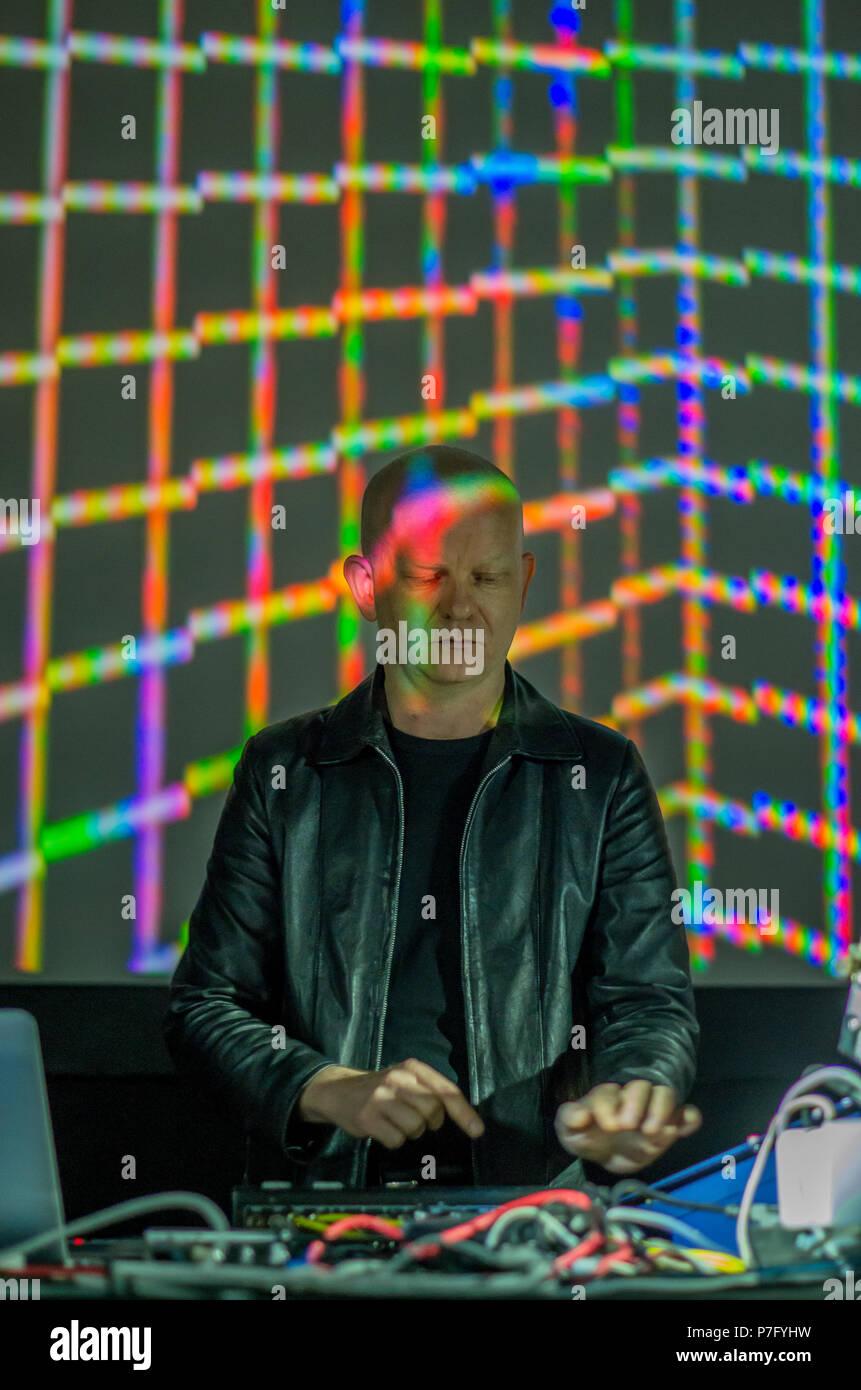 Madrid, Spain. 5th July, 2018. Uwe Schmidt performs in Madrid festival Veranos de la Villa as Atom TM. Credit: Lora Grigorova/Alamy Live News - Stock Image