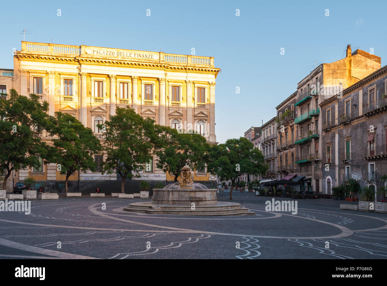 View of Vincenzo Bellini square in Catania during the afternoon - Stock Image