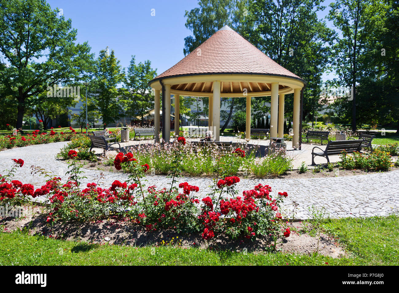 Bertiny lazne (slatinne a karbonove lazne z 1883, Tylova ulice, Trebon, Ceska republika / Berta spa resort, town Trebon, South Bohemia, Czech republic Stock Photo