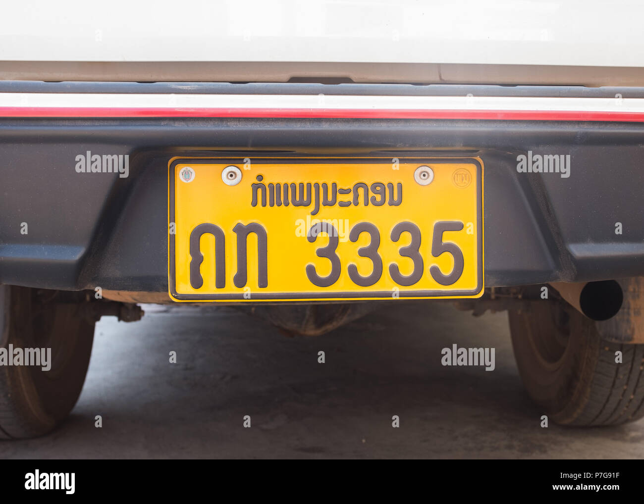 close-up of number plate of  car in Vientiane, Laos, - Stock Image