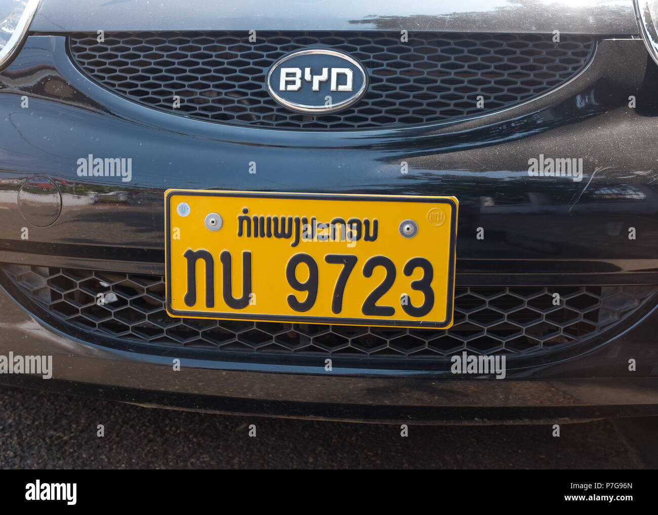 close-up of number plate of BYD(Chinese brand) car in Vientiane, Laos, - Stock Image