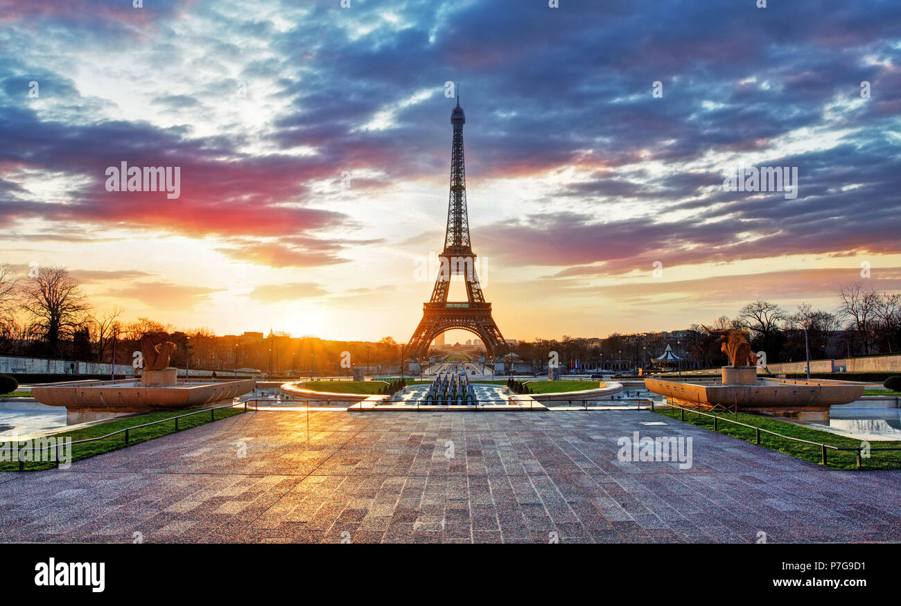 Sunrise in Paris, with  Eiffel Tower Stock Photo