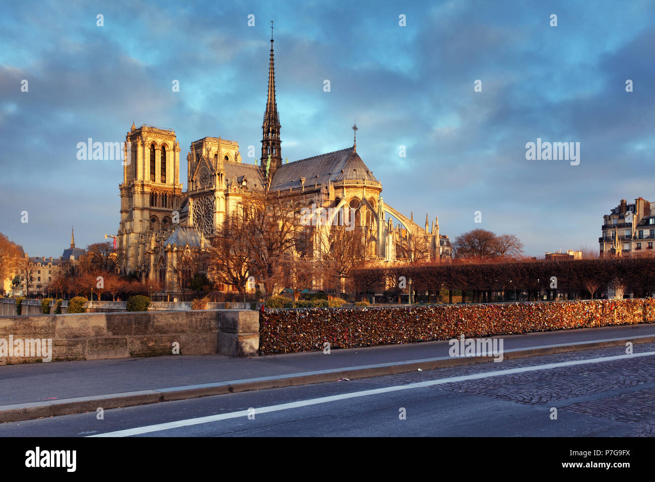 Notre Dame of Paris arches and structure at sunrise light - Stock Image