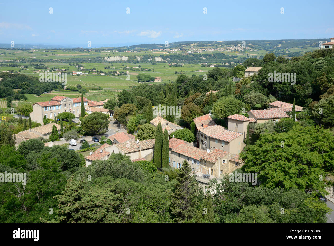 View over the Village of Séguret with Vineyards of the Côtes-du-Rhône Villages Vaucluse Provence France - Stock Image