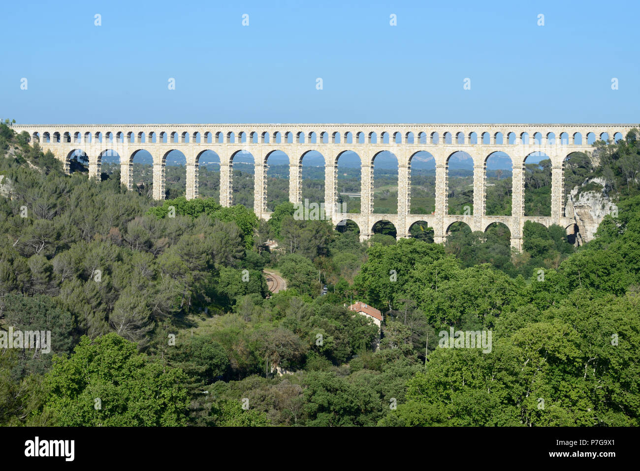 Roquefavour Aqueduct, built in 1847 as part of the Canal de Marseille, at Ventabren near Aix-en-Provence Provence France - Stock Image