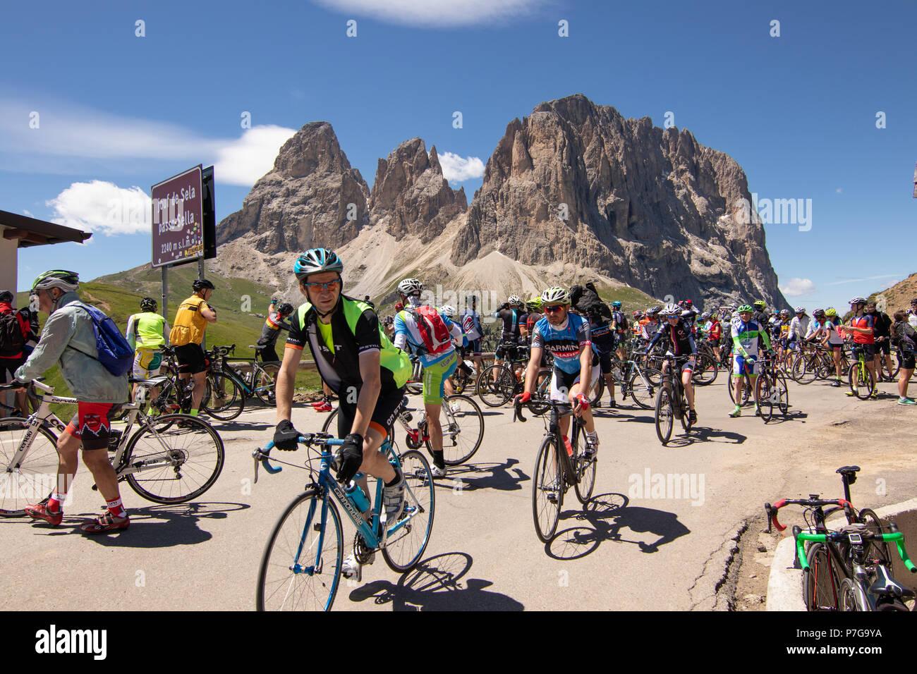 Sella Ronda Bike Day 2018 Sellaronda Cycling Dolomites Pordoi Pass Gardena Mountain Pass Sella Campolongo Tourism Sportive Cyclists Maratona Dolomiti - Stock Image