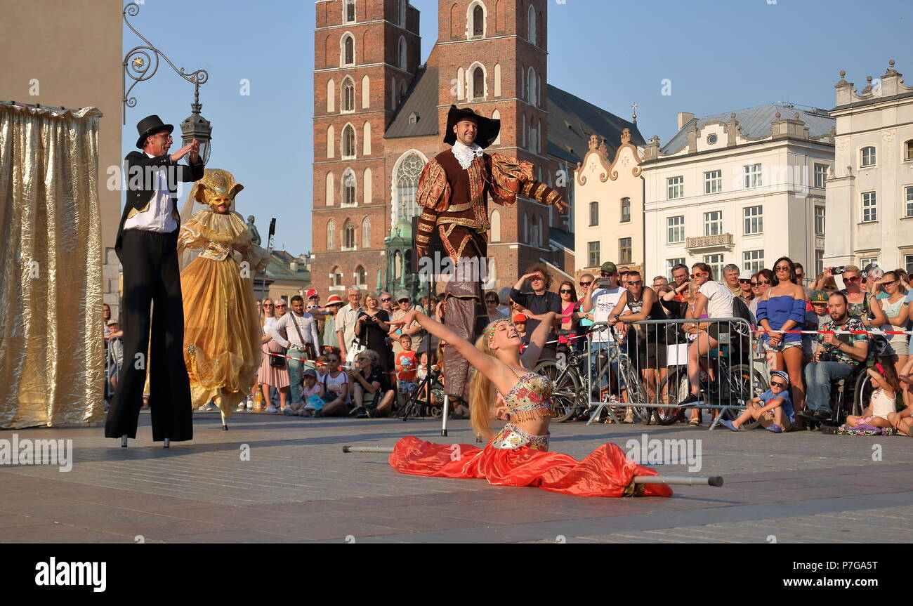 Kiev Street Theatre Highlights plays performance titled Dance Pageant during International Festival of Street Theatre Wind from the East, Krakow 2018 - Stock Image