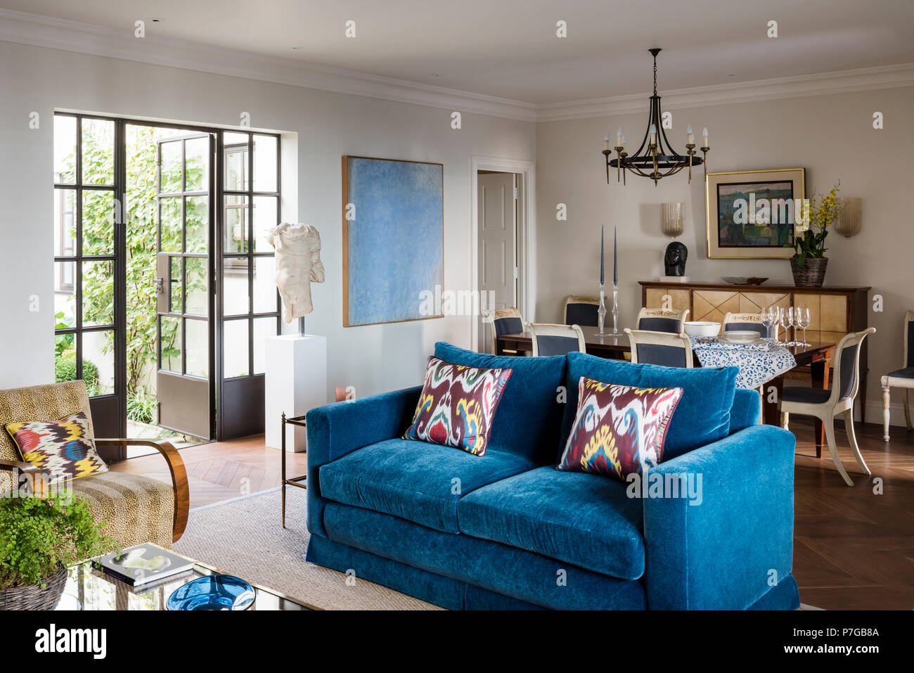 Blue sofa in country style living room Stock Photo ...