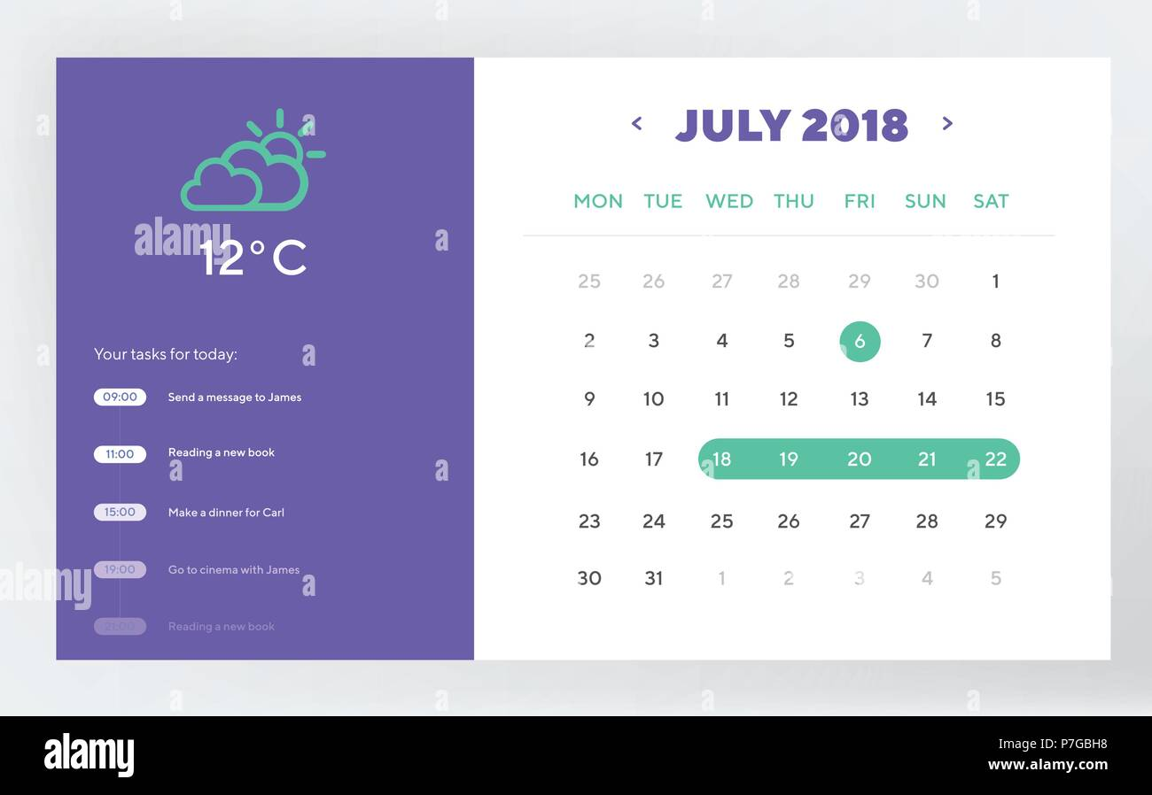 Calendar Day Planner and Calendar App Ui Ux Design. UI, UX and GUI template layout for Mobile Apps and web design.EPS 10 - Stock Image